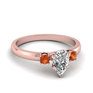 basket prong pear diamond 3 stone engagement ring with orange sapphire in FDENS3106PERGSAOR NL RG
