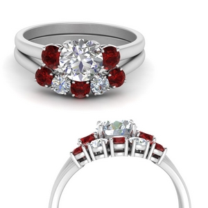 Platinum Bridal Set With Ruby