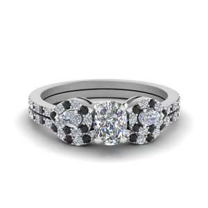 3 Stone Halo Diamond Wedding Set