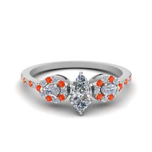 marquise shaped 3 stone diamond halo engagement ring with orange topaz in FDENS3109MQRGPOTO NL WG.jpg