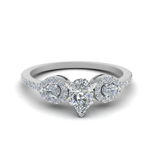 Platinum Pear Shaped Ring 0.75 Ct.