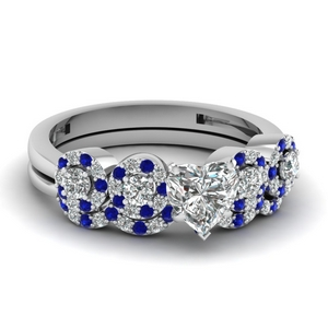 Heart Shaped Sapphire Ring Set