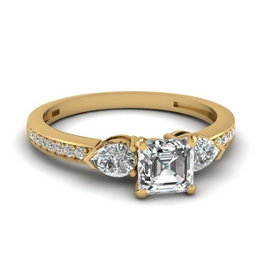 Pear Accent 3 Stone Diamond Ring
