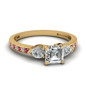 pear accent 3 stone asscher cut diamond engagement ring with pink sapphire in 14K yellow gold FDENS3111ASRGSADRPI NL YG