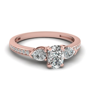 pear accent 3 stone cushion cut diamond engagement ring in 14K rose gold FDENS3111CUR NL RG