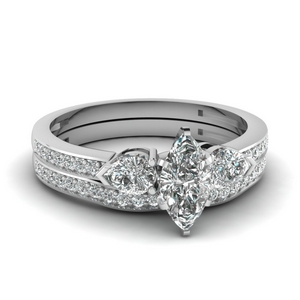 pave 3 stone marquise cut diamond bridal set in FDENS3111MQ NL WG
