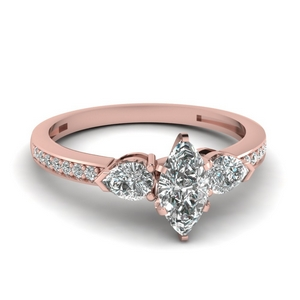 pear accent 3 stone marquise cut diamond engagement ring in 14K rose gold FDENS3111MQR NL RG