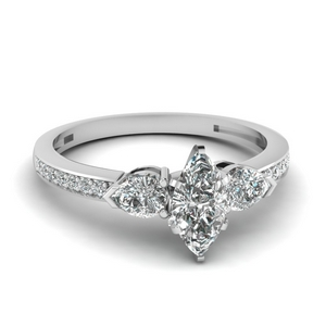 pear accent 3 stone marquise cut diamond engagement ring in 14K white gold FDENS3111MQR NL WG