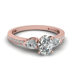 pear accent 3 stone oval shaped diamond engagement ring in 14K rose gold FDENS3111OVR NL RG