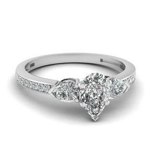 pear shaped 3 stone pave diamond engagement ring in 14K white gold FDENS3111PER NL WG
