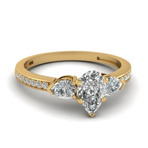 pear shaped 3 stone pave diamond engagement ring in 14K yellow gold FDENS3111PER NL YG