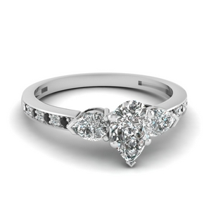 pear shaped 3 stone pave engagement ring with black diamond in 14K white gold FDENS3111PERGBLACK NL WG