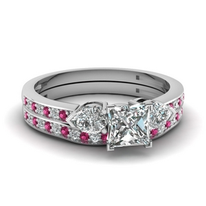 pave 3 stone princess cut diamond bridal set with pink sapphire in FDENS3111PRGSADRPI NL WG