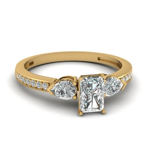 pear accent 3 stone radiant cut diamond engagement ring in 14K yellow gold FDENS3111RAR NL YG