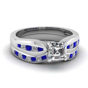 channel asscher diamond bow wedding set with sapphire in FDENS3113ASGSABL NL WG