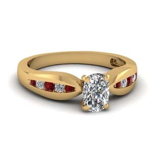 Classic Channel Diamond Ring With Ruby