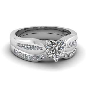 channel heart diamond bow wedding set in FDENS3113HT NL WG