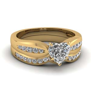 channel heart diamond bow wedding set in FDENS3113HT NL YG