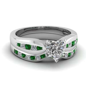 channel heart diamond bow wedding set with emerald in FDENS3113HTGEMGR NL WG