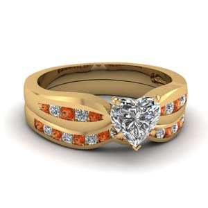 channel heart diamond bow wedding set with orange sapphire in FDENS3113HTGSAOR NL YG