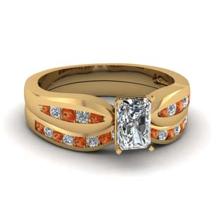 channel radiant diamond bow wedding set with orange sapphire in FDENS3113RAGSAOR NL YG