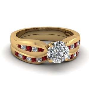 channel round diamond bow wedding set with ruby in FDENS3113ROGRUDR NL YG