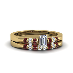 Emerald Cut Ruby Ring Set