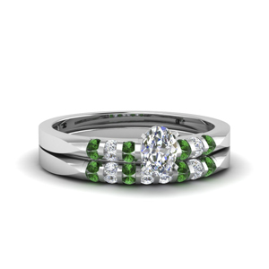 Bar Set Emerald Bridal Ring Set