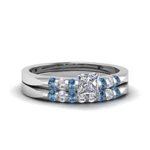 Princess Cut Topaz Ring Set