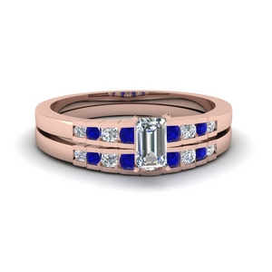Emerald Cut Ring Set With Sapphire