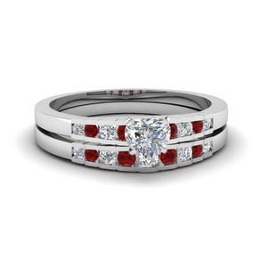 Accent Ruby Wedding Set