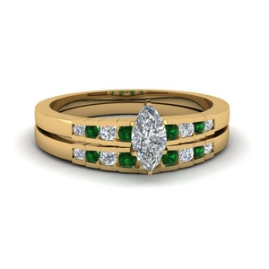 Emerald Graduated Accent Bridal Set