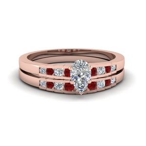 Graduated Ruby Wedding Set