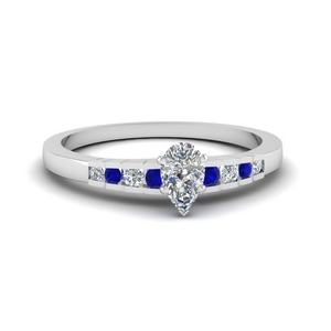 pear shaped diamond graduated accent engagement ring with sapphire in 14K white gold FDENS3116PERGSABL NL WG