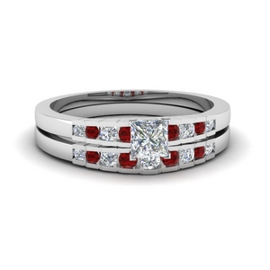 Graduated Ruby Engagement Set