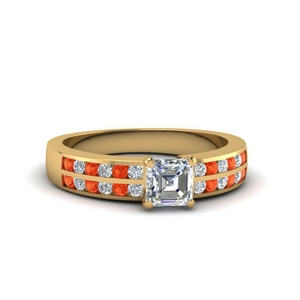 Asscher Cut Gold Ring