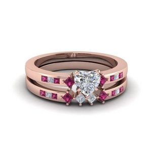 Kite Accent Diamond Ring Set