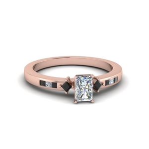 radiant cut kite style channel set accent engagement ring with black diamond in 14K rose gold FDENS3121RARGBLACK NL RG