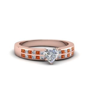 Rose Gold Orange Sapphire Wide Ring