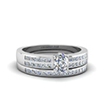 Double Row Channel Diamond Wide Bridal Set