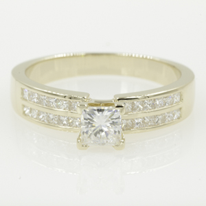 Channel Set Princess Moissanite Rings