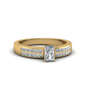 radiant cut double row channel diamond wide ring in 14K yellow gold FDENS3122RAR NL YG