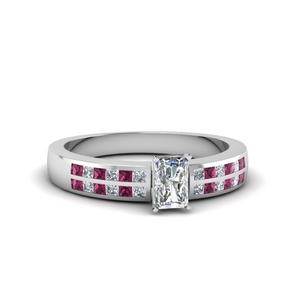 Radiant Cut Pink Sapphire Wide Ring