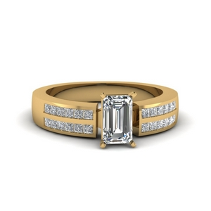 Emerald Cut Channel Diamond Ring