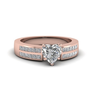 2 Row Heart Engagement Ring