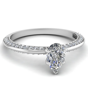 Platinum Pear Shaped Diamond Ring