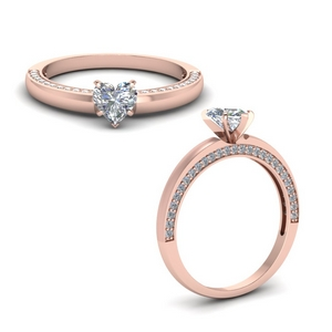 Heart Shaped Petite Moissanite Rings