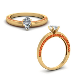 Teardrop Ring With Orange Topaz