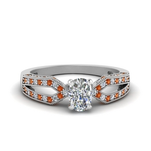 Split Shank Orange Sapphire Ring
