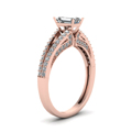 emerald cut diamond slender split side stone engagement ring in 14K rose gold FDENS3131EMRANGLE2 NL RG